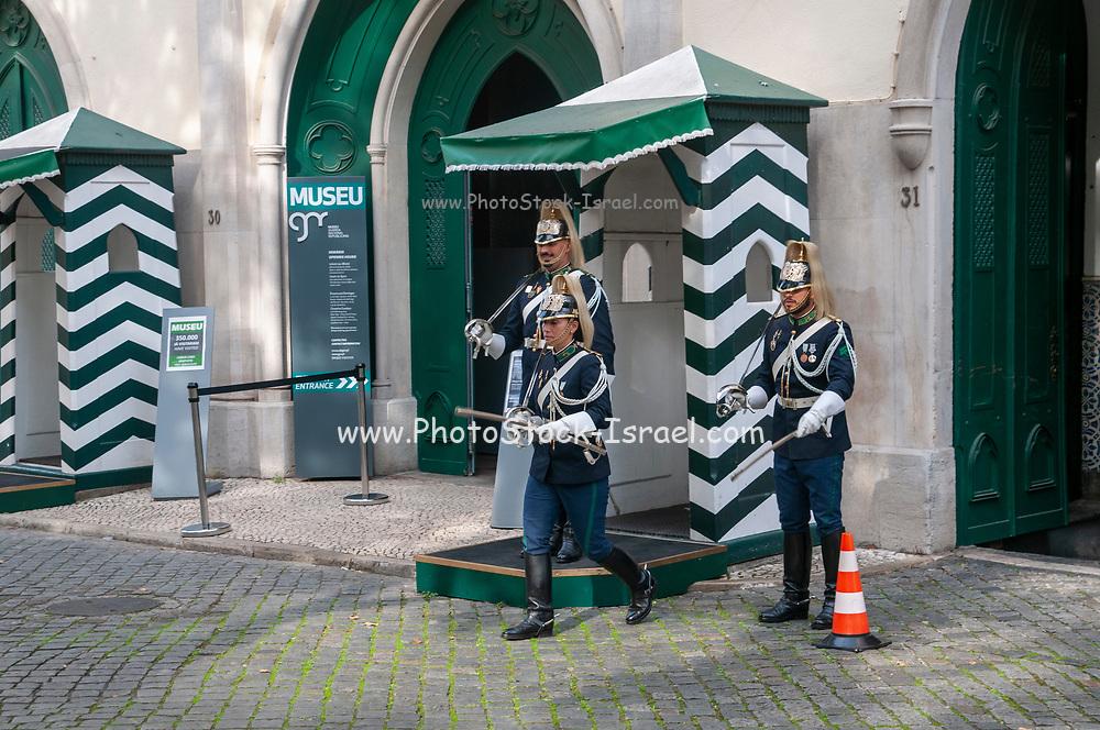 National Republican Guard (Guarda Nacional Republicana) on duty outside the GNR General Headquarters in Largo do Carmo, Lisbon, Portugal