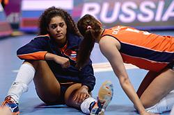 09-01-2016 TUR: European Olympic Qualification Tournament Rusland - Nederland, Ankara<br /> De Nederlandse volleybalsters hebben de finale van het olympisch kwalificatietoernooi tegen Rusland verloren. Oranje boog met 3-1 voor de Europees kampioen (25-21, 22-25, 25-19, 25-20) / Celeste Plak #4, Robin de Kruijf #5