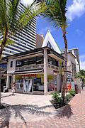 Fast food restaurant with church steeple and cross. Waikiki, Honolulu, Hawaii