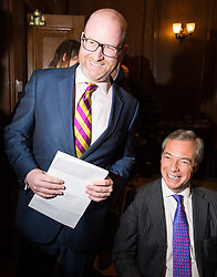 © Licensed to London News Pictures. 27/03/2017.  UKIP Leader Paul Nuttall meets former UKIP leader Nigel Farage before making a keynote speech setting out six key tests by which the country can judge Theresa May's Brexit negotiations. London, UK. Photo credit: Ray Tang/LNP