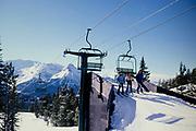 Skiing at Lake Louise ski resort, Banff National Park, Alberta, Rocky Mountains, Canada in 1981