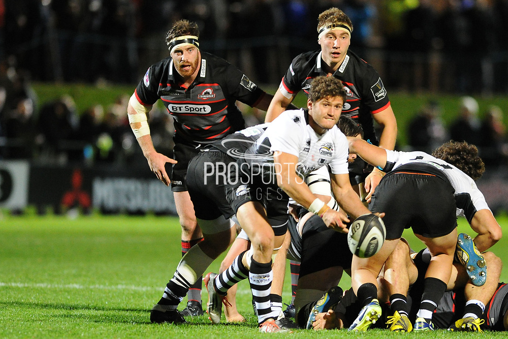 Scrum half Marcello Violi on the ball during the Guinness Pro 14 2017_18 match between Edinburgh Rugby and Zebre at Myreside Stadium, Edinburgh, Scotland on 6 October 2017. Photo by Kevin Murray.
