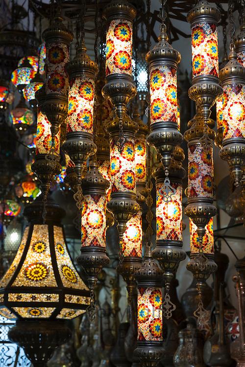 Traditional Turkish ornate lanterns lamps in The Grand Bazaar, Kapalicarsi, great market in Beyazi, Istanbul, Turkey