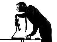 silhouette caucasian business man  computing expressing seeking behavior full length on studio isolated white background