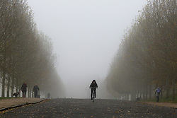 © Licensed to London News Pictures. 08/11/2019. London, UK. A cyclist rides a bike on a foggy morning in Finsbury Park, north London. Photo credit: Dinendra Haria/LNP