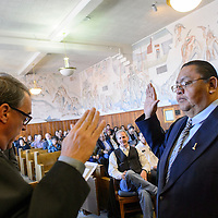 123014       Adron Gardner<br /> <br /> Eleventh Judicial Court Judge Louis DePauli, left, swears in Kenneth Howard as magistrate judge at the McKinley County Courthouse in Gallup Tuesday.