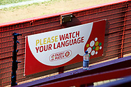 Ground shot of new signage during the EFL Sky Bet League 2 match between Stevenage and Bradford City at the Lamex Stadium, Stevenage, England on 5 April 2021.
