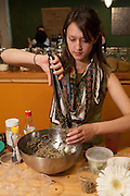 """Cathy Erway, blogger of """"Not Eating Out in NY"""" and author of """"The Art of Eating In,"""" serving shiso mint pesto with soba noodles."""