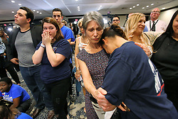 Erika Smith, second from right, consoles Gisela Alvarez, right, at the Nelson for U.S. Senate election night party, in downtown Orlando, Fla., on Tuesday, November 6, 2018, as Nelson continues to trail Republican challenger Rick Scott with 99 percent of Florida precincts reporting. Photo by Joe Burbank/Orlando Sentinel/TNS/ABACAPRESS.COM
