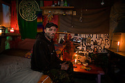 In his self-built home called the Earth Shack, is anarchist and political activist 'Eco', a resident of the Faslane Peace Camp