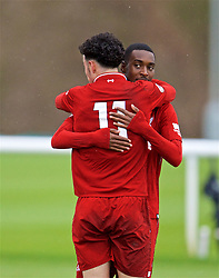 DERBY, ENGLAND - Friday, March 8, 2019: Liverpool's Curtis Jones (L) celebrates scoring the third goal with team-mate Rafael Camacho during the FA Premier League 2 Division 1 match between Derby County FC Under-23's and Liverpool FC Under-23's at the Derby County FC Training Centre. (Pic by David Rawcliffe/Propaganda)