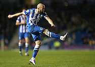 Brighton defender, Bruno Saltor (2) hits the crossbar with a shot during the Sky Bet Championship match between Brighton and Hove Albion and Wolverhampton Wanderers at the American Express Community Stadium, Brighton and Hove, England on 1 January 2016.