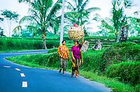 Women walking on road near Kedisan, Bali, Indonesia
