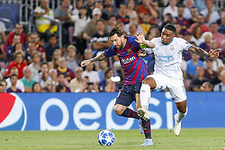 September 18, 2018 - Barcelona, Spain - FC Barcelona forward Lionel Messi (10) and PSV Eindhoven forward Steven Bergwijn (17) during the UEFA Champions League match between FC Barcelona and PSV Eindhoven at Camp Nou Stadium corresponding of matchday 1, group B on September 18, 2018 in Barcelona, Spain. (Credit Image: © Urbanandsport/NurPhoto/ZUMA Press)