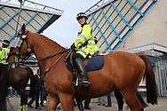 a Police Officer on horseback  patrols around The Den Stadium before k/o. Skybet football league one play off semi final 2nd leg match, Millwall v Bradford city at The New Den in London on Friday 20th May 2016.<br /> pic by John Patrick Fletcher, Andrew Orchard sports photography.