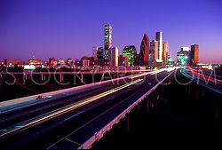 traffic passing by the Houston skyline from the northern side stock photo,stock,stock photography,stock image
