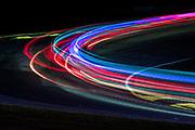 October 5-7, 2017: Motul Petit Le Mans 2017. Long exposure of cars during night practice
