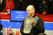 Stuart Bingham of England lifts the new Ray Reardon trophy after winning the match. Coral Welsh Open Snooker 2017, final match, Judd Trump of England v Stuart Bingham of England at the Motorpoint Arena in Cardiff, South Wales on Sunday 19th February 2017.<br /> pic by Andrew Orchard, Andrew Orchard sports photography.