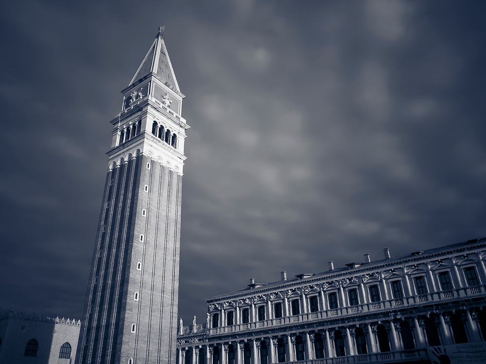 Black and white photo of the Campanile on the Piazza San Marco, or St. Marks Square, Venice, Italy