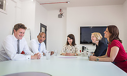 © Licensed to London News Pictures. 20/07/2015. London, UK. Labour leadership contender Liz Kendall (centre) sits with (L-R) Tristram Hunt, Chuka Umunna, Emma Reynolds and Gloria De Piero after giving a speech at Livity in Brixton to Labour supporters. Photo credit : James Gourley/LNP