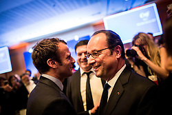 French presidential election candidate for the En Marche movement Emmanuel Macron and President Francois Hollande attending the 32nd annual dinner of the Jewish Institutions Representative Council (Conseil Representatif des Institutions juives de France - CRIF) in Paris, France on February 22, 2017. Photo by Pool/ABACAPRESS.COM