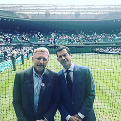 """Boris Becker releases a photo on Instagram with the following caption: """"Presenting together with #timhenman the opening match for @bbcsport on #Center court @wimbledon"""". Photo Credit: Instagram *** No USA Distribution *** For Editorial Use Only *** Not to be Published in Books or Photo Books ***  Please note: Fees charged by the agency are for the agency's services only, and do not, nor are they intended to, convey to the user any ownership of Copyright or License in the material. The agency does not claim any ownership including but not limited to Copyright or License in the attached material. By publishing this material you expressly agree to indemnify and to hold the agency and its directors, shareholders and employees harmless from any loss, claims, damages, demands, expenses (including legal fees), or any causes of action or allegation against the agency arising out of or connected in any way with publication of the material."""