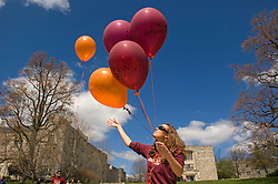 Blacksburg, Va. UNITED STATES: Virginia Tech students watch balloons they released with the names of those killed on the campus during a moment of silence in Blacksburg, Va. April 20, 2007.  A 23-year-old student from South Korea was identified as the gunman who carried out the deadliest school shooting in US history.  33 people died on Monday, police named the gunman as Cho Seung-Hui, a student at the school and resident alien in the United States. (AMi Vitale)