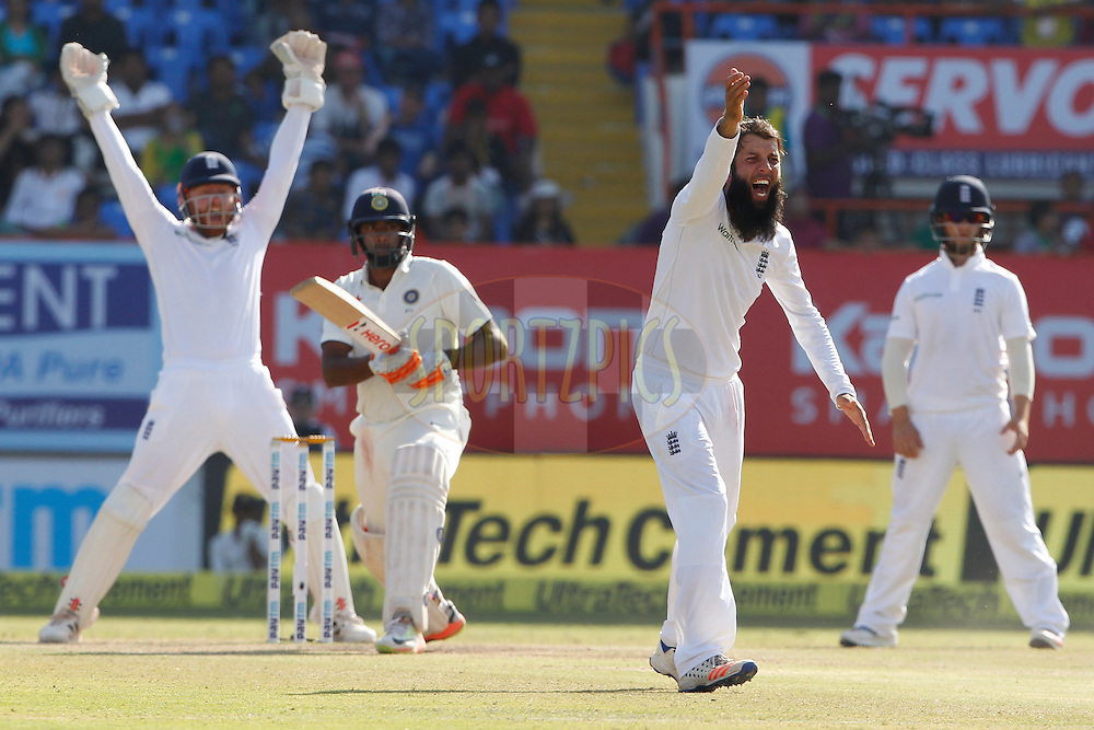 Moeen Ali of England unsuccesfully appeals during day 5 of the first test match between India and England held at the Saurashtra Cricket Association Stadium , Rajkot on the 13th November 2016.<br /> <br /> Photo by: Deepak Malik/ BCCI/ SPORTZPICS