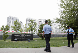 June 8, 2017 - Kiev, Ukraine - U.S. Embassy securities together with Ukrainian police patrols the territory around the site. U.S. Embassy confirms a security incident involving a small incendiary device shortly after 12 am June 8 at the Embassy compound in Kyiv, Ukraine. There was no damage to Embassy property. No personnel were injured. Embassy doesn't consider this incident a terrorist act. (Credit Image: © Sergii Kharchenko/NurPhoto via ZUMA Press)