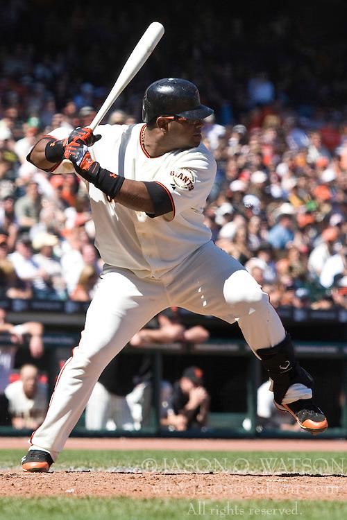 May 1, 2010; San Francisco, CA, USA;  San Francisco Giants third baseman Pablo Sandoval (48) at bat against the Colorado Rockies during the seventh inning at AT&T Park.  San Francisco defeated Colorado 6-1.