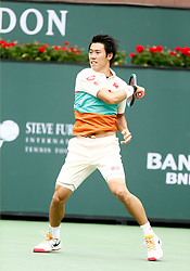 March 10, 2019 - Indian Wells, CA, U.S. - INDIAN WELLS, CA - MARCH 10: Kei Nishikori (JPN) hits a forehand during the second round of the BNP Paribas Open on March 10, 2019, at the Indian Wells Tennis Gardens in Indian Wells, CA. (Photo by Adam Davis/Icon Sportswire) (Credit Image: © Adam Davis/Icon SMI via ZUMA Press)