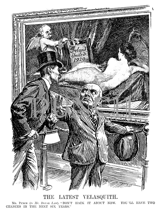 """The Latest Velasquith. Mr Punch (to Mr Bonar Law). """"Don't hack it about now. You'll have two chances in the next six years."""""""