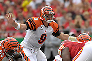 October 14, 2007 - Kansas City, MO..Quarterback Carson Palmer #9 of the Cincinnati Bengals calls a play at the line in the first half against the Kansas City Chiefs, during a NFL football game at Arrowhead Stadium in Kansas City, Missouri on October 14, 2007...FBN:  The Chiefs defeated the Bengals 27-20.  .Photo by Peter G. Aiken/Cal Sport Media