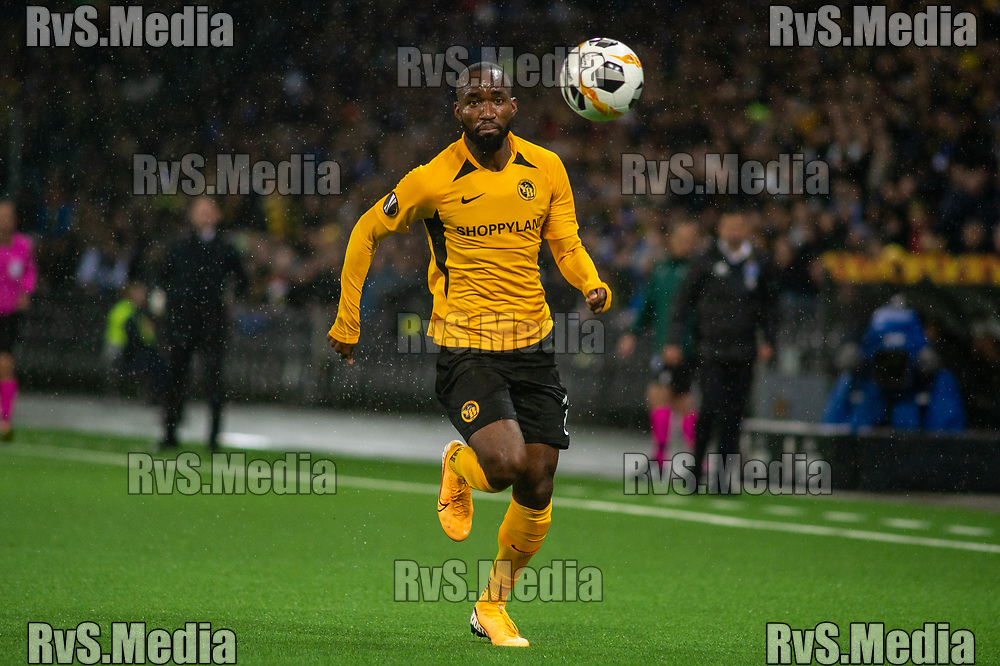 BERN, SWITZERLAND - NOVEMBER 28: #13 Nicolas Moumi Ngamaleu of BSC Young Boys in action during the UEFA Europa League group G match between BSC Young Boys and FC Porto at Stade de Suisse, Wankdorf on November 28, 2019 in Bern, Switzerland. (Photo by Monika Majer/RvS.Media)