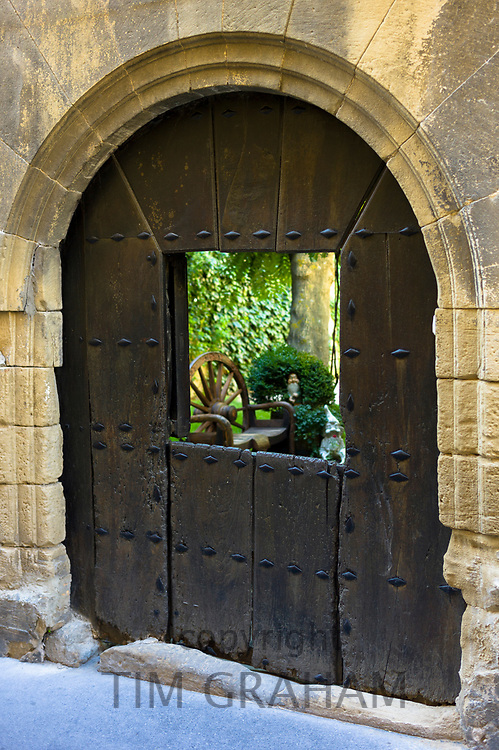 Traditional doorway in stable door style in Calle Paganos in town of Laguardia in Rioja-Alavesa area of Spain