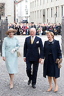 14.04.11. Copenhagen, Denmark..Princess Benedikte, Prince Richard and Queen Anne-Marie of Greecearrival to the Holmens Church to christening ceremony..Photo: Ricardo Ramirez