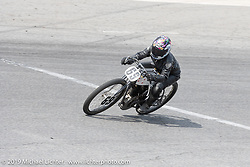 Roxie Hanna riding her 61 ci board track style motorcycle racer in the Sons of Speed Vintage Motorcycle Races at New Smyrina Speedway. New Smyrna Beach, USA. Saturday, March 9, 2019. Photography ©2019 Michael Lichter.
