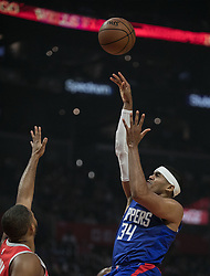 October 21, 2018 - Los Angeles, California, U.S - Tobias Harris #34 of the Los Angeles Clippers takes a shot at the basket during their NBA game with the Houston Rockets on Sunday October 21, 2018 at the Staples Center in Los Angeles, California. (Credit Image: © Prensa Internacional via ZUMA Wire)
