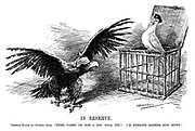 "In Reserve. German Eagle (to German Dove). ""Here, carry on for a bit, will you? I'm feeling rather run down."" (the German Eagle opens the cage of the German Dove during WW1)"