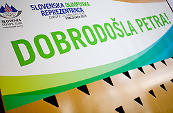 Welcome poster for Slovenian bronze medalist cross-country skier Petra Majdic at arrival to Airport Joze Pucnik from Vancouver after Winter Olympic games 2010, on March 1, 2010 in Brnik, Slovenia. (Photo by Vid Ponikvar / Sportida)
