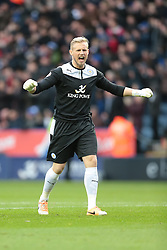 Leicester City's Kasper Schmeichel celebrates Nugent's goal from the penalty spot - Photo mandatory by-line: Nigel Pitts-Drake/JMP - Tel: Mobile: 07966 386802 14/12/2013 - SPORT - Football - Leicester - King Power Stadium - Leicester City v Burnley - Sky Bet Championship