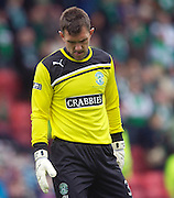 The William Hill Scottish FA Cup Final 2012 Hibernian Football Club v Heart Of Midlothian Football Club..19-05-12...Hibs keeper Mark Brown is dejected at  the Full time whistle after 5 goals go past him to give Hearts a 5-1 win, although the keeper was blameless for all of them   during the William Hill Scottish FA Cup Final 2012 between (SPL) Scottish Premier League clubs Hibernian FC and Heart Of Midlothian FC. It's the first all Edinburgh Final since 1986 which Hearts won 3-1. Hearts bid to win the trophy since their last victory in 2006, and Hibs aim to win the Scottish Cup for the first time since 1902....At The Scottish National Stadium, Hampden Park, Glasgow...Picture Mark Davison/ ProLens PhotoAgency/ PLPA.Saturday 19th May 2012.