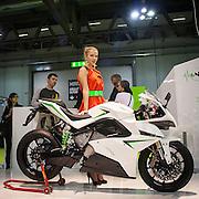 Motosalone Eicma edizione 2012: la prima moto iper sportiva elettrica nello stand Energica..International Motorcycle Exhibition 2012: first hyper sport electric motorbike of Energica.