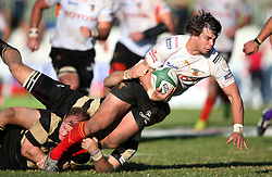 Free State Cheetahs captain Francois Venter is tackled during the Currie Cup match between the Boland Cavaliers and The Free State Cheetahs held at Boland Stadium, Wellington, South Africa on the 6th August 2016<br /> <br /> Photo by:   Shaun Roy/ Real Time Images