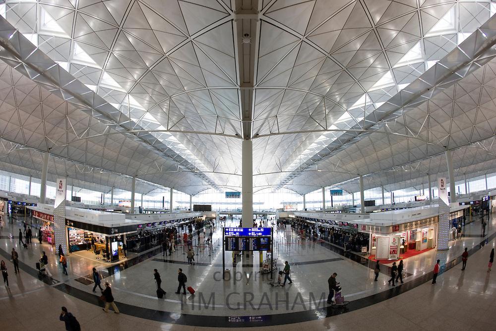 Passengers at Hong Kong International Airport, China