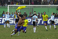 25/07/04 - LIMA - PERU -  COPA AMERICA PERU 2004 -  BRASIL - BRAZIL (5) win by penalty  over ARGENTINA (3) - BRAZIL CHAMPION CELEBRATION.<br />Brazilian player N*7 ADRIANO celebrating his goal two minutes brfore finish the match.<br />© Str./Argenpress.com