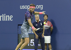September 6, 2017 - New York, New York, United States - Juan Martin del Potro of Argentina returns ball during match against Roger Federer of Switzerland at US Open Championships at Billie Jean King National Tennis Center  (Credit Image: © Lev Radin/Pacific Press via ZUMA Wire)