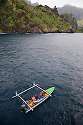Fishing boat, Hanavave, Island of Fatu Hiva, Marquesas Islands, French Polynesia, (Editorial use only)<br />