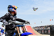 Tom Pages and Jarryd McNeil during Moto X Best Whip Final at 2019 X Games Shanghai in Shanghai, China. ©Brett Wilhelm/ESPN
