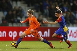 (L-R), Frenkie de Jong of Jong Oranje, Alex Villagrasa of Jong Andorra during the EURO U21 2017 qualifying match between Netherlands U21 and Andorra U21 at the Vijverberg stadium on November 10, 2017 in Doetinchem, The Netherlands